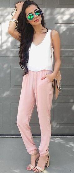 #summer #alyssa #outfits   White + Pastel Pink