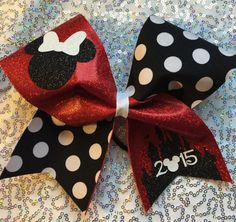 Disney Cheer Bow - Minnie Mouse Inspired- your choice of color by aboutthebow on Etsy https://www.etsy.com/listing/229181682/disney-cheer-bow-minnie-mouse-inspired