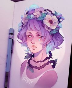 WEBSTA @ relseiy - Pastel flower, mushroom and vine crown? What do you think?? Also pastel colours i feel like i haven't used in a while! I've been using very high contrast colours these days.#pastel #digitalart #كلنا_رسامين