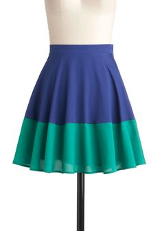 Track and Field Day Skirt - Blue, Green, Color Block, A-line, Colorblocking