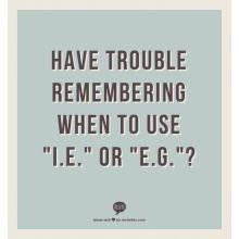 "Get Grammar Girl's take on ""i.e."" versus ""e.g."" Learn what ""i.e."" and ""e.g."" stand for and how to use them correctly."