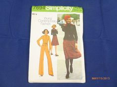 7694 Simplcity SZ 12 Young Contemporary Fashion Pattern Misses Unlined Jacket Skirt Pants Vintage 1976 Uncut by 2xisnice on Etsy