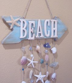 30 Ideas For Bedroom Beach Decor Coastal Style Sea Glass Beach Cottage Style, Beach Cottage Decor, Coastal Style, Coastal Decor, Beach Wood Signs, Beach House Signs, Home Signs, Seashell Projects, Seashell Crafts