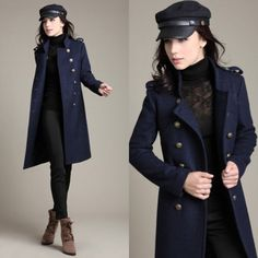 Luxury Womens Wool Blend Double breasted Lapel Military Trench Coats Long Jacket