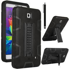 """ULAK Samsung Galaxy Tab 4 7.0 Case, 3in1 Hybrid Shockproof Kickstand Case For Samsung Galaxy Tab 4 7.0"""" Galaxy Tab 4 Nook Cover with Screen Protector + Stylus (Black+Black), http://www.amazon.com/dp/B00PFQZVOY/ref=cm_sw_r_pi_awdm_1dVIub0PWW9D6"""