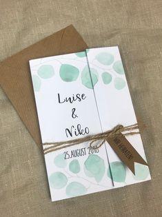 Einladungskarten - Hochzeitseinladung Eukalyptus-2- vintage Style - ein Designerstück von Papiergold bei DaWanda