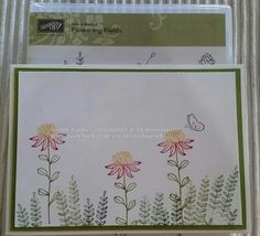 Flowering Fields from Stampin' Up.  2016 Sale-a-bration item.   Coloured with Stampin' Write Markers.