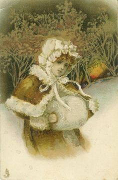 Ellen Clapsaddle - Girl with Muff in Snowy Christmas Forest at Sunset