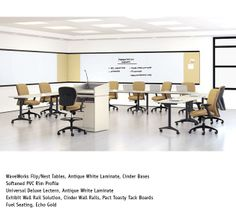 National Office Furniture - WaveWorks Flip/Nest Training Tables with Fuel task/works seating in training room area.