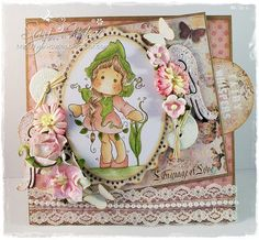 Sweet Pea Tilda from http://www.magnoliastamps.us/ #cards #crafts more info at http://wwwsuzies.blogspot.com