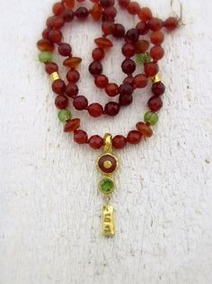Carnelian and Peridot Necklace. 24k Solid Gold Carnelian & Peridot Necklace. Gemstones Necklace on Etsy, $420.00