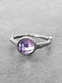 Sterling Silver Amethyst Branch Ring