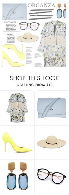 """""""Organza"""" by pauirh ❤ liked on Polyvore featuring Erdem, Topshop, Manolo Blahnik, Marco Bicego, Summer, yellow, Blue, Tan and organza"""