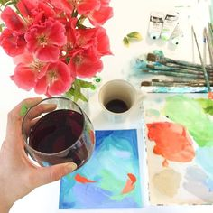 time to switch from coffee to wine! ☕️sometimes I enjoy working on the weekend because the pressure is off somehow- play & paint. Cheers to a happy Saturday everyone!