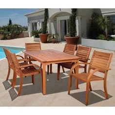 Amazonia Maryland 7 Piece Dining Set by International Home Miami. $1399.00. SC_361_6CATA Features: -Material: 100pct high quality eucalyptus wood.-Free feron gard wood preservative for longest strap durability.-Works great against the effects of air pollution salt air, and mildew growth.-For best protection, perform this maintenance every season or as often as desired.-Great functionality. Includes: -Includes 1 Rectangular table and 6 Stacking armchairs. Assembly Instruc...
