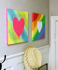 Got some extra contact paper? Put it to good use with this easy peasy canvas art idea.  Source: Hi Sugarplum!