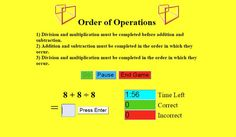 """In """"Order of Operations"""" students are challenged to see how many problems they can solve in two minutes. #ccss 3.OA.D.8, 6.EE.A.2c"""