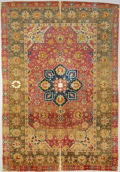 Silk Kashan Carpet-Date:16th century Medium:Silk (warp, weft and pile); asymmetrically knotted pile Accession Number:58.46 Location:On view at The Met Fifth Avenue in Gallery 455