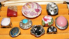 Costume jewelry RING LOT 10 rings rhinestone Cocktail Lucite STATEMENT Big