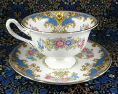 Shelley Blue Sheraton Cup and Saucer England Gainsborough Shape