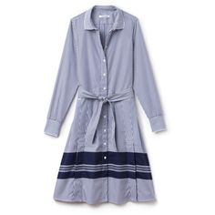 White Women's Belted Striped Cotton Poplin Shirt Dress ($200) ❤ liked on Polyvore featuring dresses, stripe dresses, white dress, t-shirt dresses, belted shirt dress and stripe shirt dress
