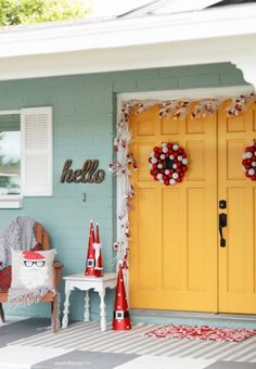 Add red and white accents, playful pieces and whimsical touches to your porch to show the neighbors how you're celebrating this season!