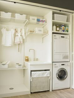 70 drying room design ideas that you can try in your home page 35 Basement Laundry, Small Laundry Rooms, Laundry Closet, Laundry Room Organization, Laundry Room Design, Laundry In Bathroom, Ikea Laundry, Storage Room, Bathroom Storage