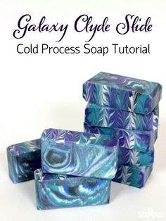 This Galaxy Clyde Slide Cold Process soap creates a unique swirl pattern inspired by space. Learn how to make it here! (And other soap inspirations) Galaxy Crafts, Diy Galaxy, Body Tutorial, Homemade Soap Recipes, Handmade Soaps, Diy Soaps, Cold Process Soap, Home Made Soap, Cool Diy