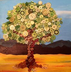 Button tree painting love this! Button Tree Art, Button Art, Button Crafts, Diy Arts And Crafts, Cute Crafts, Diy Tree Painting, Button Picture, Art Plastique, Creative Art