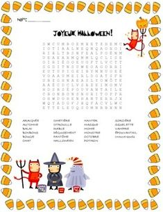 french halloween vocabulary word search - Halloween Vocab Words
