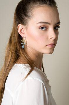 Long chandelier dangle drop Yemenite earrings with gemstones, Choose 14K Gold Filled / Gold plated or Sterling Silver, Dangle drop earrings