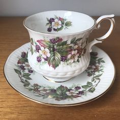 """Vintage Queens Rosina """"Wild Flowers"""" Tea Cup and Saucer, Blackberries Floral Fruit Teacup and Saucer, Bone China"""