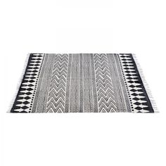 Tapis Indiana Stripes - Coton - Noir / Blanc