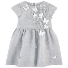 Linen blend on the outside Fine cotton lining Dress: Light Crew neck Short sleeves Pleats under the waistband Invisible zipper at the back Fabric butterflies