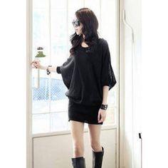Korean Fashion Long Dolman Sleeves Scoop Neck Women's Cotton Blend Black Dress