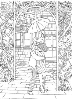 Adult Coloring Book, Printable Coloring Pages, Coloring Pages, Coloring Book for Adults, Instant Download, Loving Couple page 7