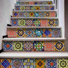 Stair case tile decal : Mexican Talavera style- 12 DESIGNS