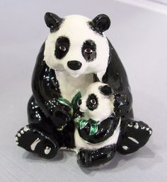 New Trinket Box Gift Painted Crystals Panda & Baby Animal Necklace