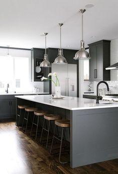 Fashionable Dark Grey Kitchen Design Ideas - Page 2 of 45 Home Decor Kitchen, Kitchen Flooring, White Kitchen Design, Home Kitchens, White Wood Kitchens, Kitchen Remodel, Modern Kitchen Design, Kitchen Island Makeover, Rustic Kitchen