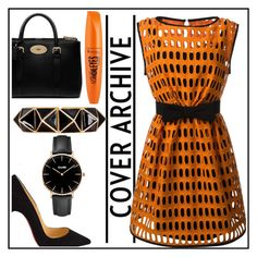 """""""Orange is the new Black"""" by rebecca-laroche ❤ liked on Polyvore featuring Moschino, Christian Louboutin, Mulberry, Kenneth Jay Lane, CLUSE and Rimmel"""