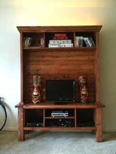 Tryde Media Center! | Do It Yourself Home Projects from Ana White      With or without the hutch part. Maybe add some frosted glass doors to the console part?