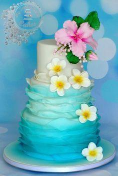 Hawaii themed wedding cake