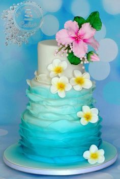 Hawaii themed wedding cake