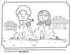 Kids coloring page from What's in the Bible? featuring Adam and Eve Leaving the Garden from Genesis 3. Volume 1: In the Beginning.