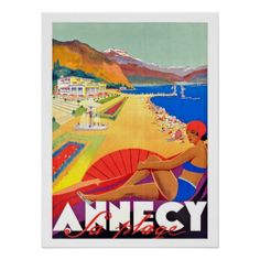 #Annecy beach lake France vintage travel poster - #travel #trip #journey #tour #voyage #vacationtrip #vaction #traveling #travelling #gifts #giftideas #idea