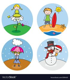 Children showing the four seasons Royalty Free Vector Image Four Seasons Image, Free Vector Images, Vector Free, Preschool Decor, Speech Therapy Games, Spring Art, Kids Education, School Projects, Art For Kids