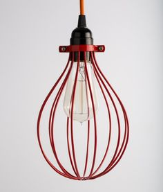 industrial lamp bulb cage  red balloon