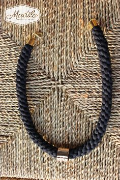 Black and Gold Necklace Madila #Handmade #Crochet #Zpagetti #Yarn #Trapillo Recycled fabrics https://www.etsy.com/uk/listing/199776734/various-colours-fiona-necklace-free-uk?ref=shop_home_active_11
