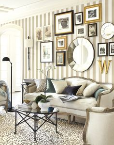 Rooms Ideas for Decorating Striped wallpaper and an eclectic gallery wall give this living room a collected vibeStriped wallpaper and an eclectic gallery wall give this living room a collected vibe Living Room Designs, Living Room Decor, Living Rooms, Living Spaces, Striped Wallpaper Living Room, Stripe Wallpaper, Eclectic Gallery Wall, Striped Walls, Striped Rug