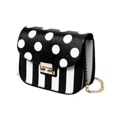 Black Fashion Chain and Polka Dot Design Crossbody Bag For Women (160 SEK) ❤ liked on Polyvore featuring bags, handbags, shoulder bags, crossbody handbags, crossbody shoulder bag, chain purse, chain handbags and chain shoulder bag